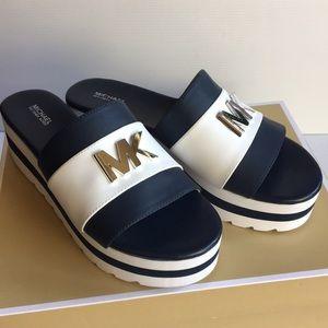 Michael Kors Logo Brady Colorblock Slide Sandals